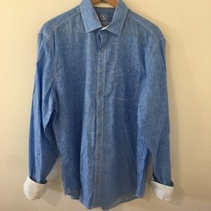 Bugatchi Uomo Linen Shaped Fit Blue Button Down-XL